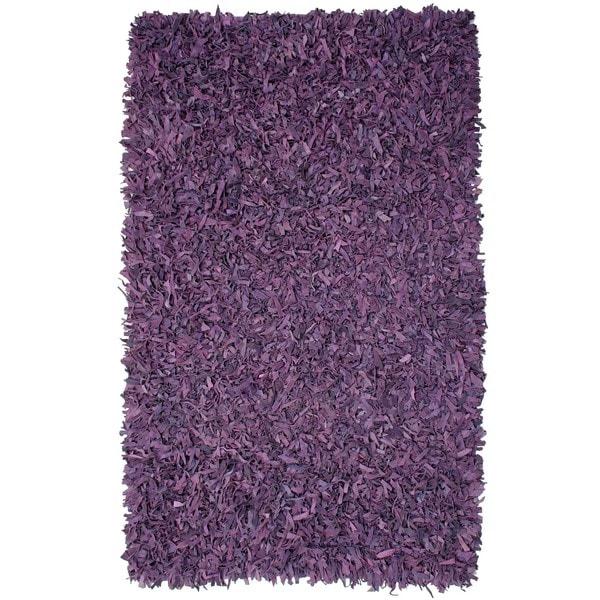 Hand-tied Pelle Purple Leather Shag Rug (5' x 8') - 5' x 8'