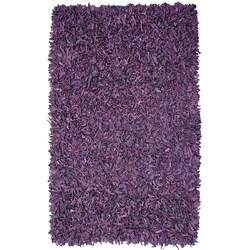 Hand-tied Pelle Purple Leather Shag Rug (5' x 8')