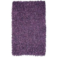 Hand-tied Pelle Purple Leather Shag Rug - 5' x 8'