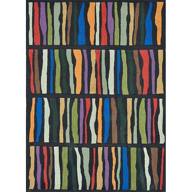 Hand-tufted Caulfield Black Multi Rug (5' x 7'6)