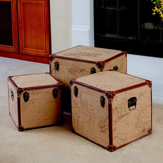 Map Trunks (Set of 3) by Christopher Knight Home