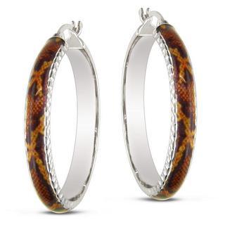 Miadora Sterling Silver Brown Snake Animal Painting Hoop Earrings
