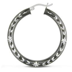 Miadora Sterling Silver Grey Rhodium Flower Design Hoop Earrings - Thumbnail 1