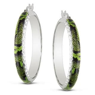 Miadora Sterling Silver Green Snake Animal Painting Hoop Earrings