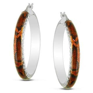 M by Miadora Sterling Silver Orange Snake Animal Painting Hoop Earrings