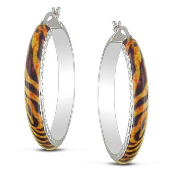 Miadora Sterling Silver Tiger Stripe Animal Painting Hoop Earrings
