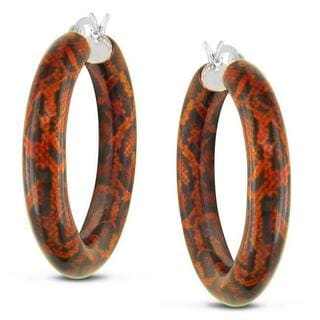 Miadora Sterling Silver Orange Snake Full Round Animal Painting Hoop Earrings