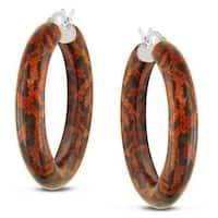 Miadora Sterling Silver Orange Snake Full Round Animal Painting Hoop Earrings