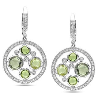 Miadora Signature Collection 14k White Gold Multi-gemstone and 3/4ct TDW Diamond Earrings (G-H, SI1-SI2)