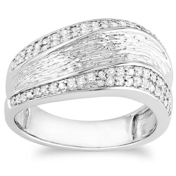 Miadora Sterling Silver 1/4ct TDW Diamond Ring