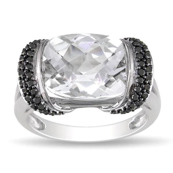 Miadora 10k White Gold Cushion-cut White Topaz and 1/4ct TDW Black Diamond Ring