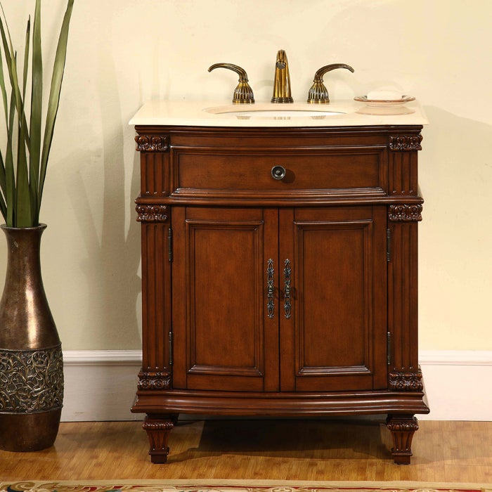 Silkroad Exclusive Marble Top 30 5 Inch Single Sink Vanity Cabinet Free Shipping Today