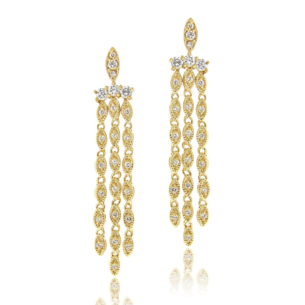 Icz stonez 14k yellow goldplated cubic zirconia chandelier icz stonez 14k yellow goldplated cubic zirconia chandelier earrings arubaitofo Images