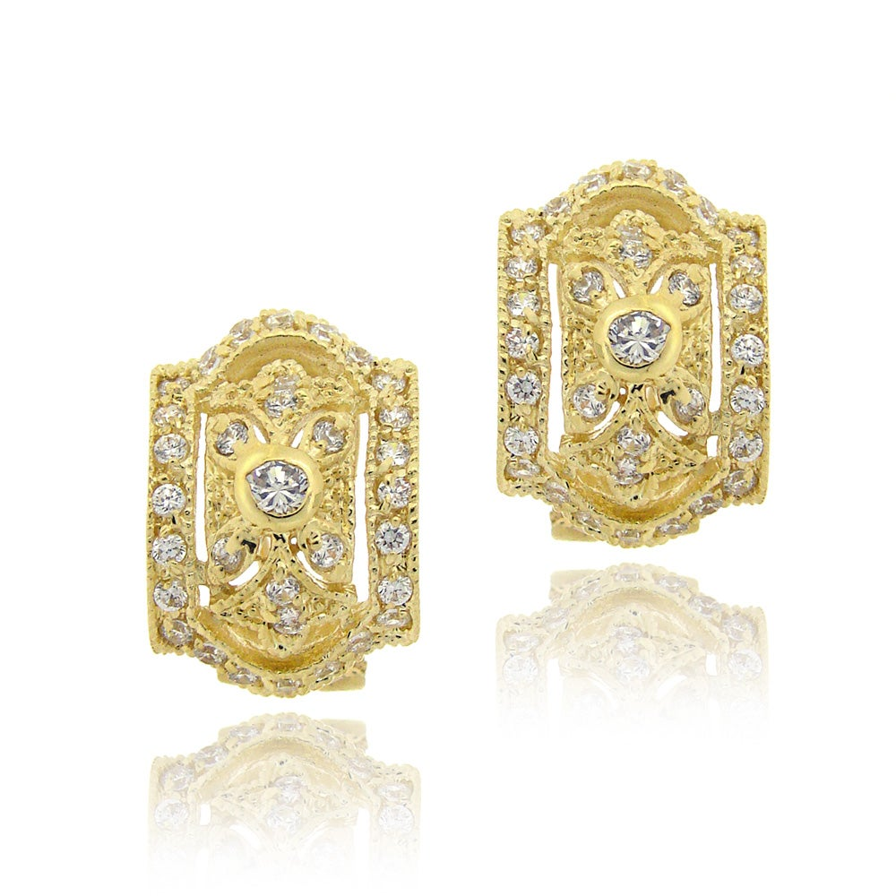 Icz Stonez 14k Yellow Gold Over Cubic Zirconia Hoop Earrings