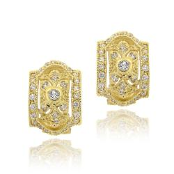 Icz Stonez 14k Yellow Gold over Cubic Zirconia Hoop Earrings