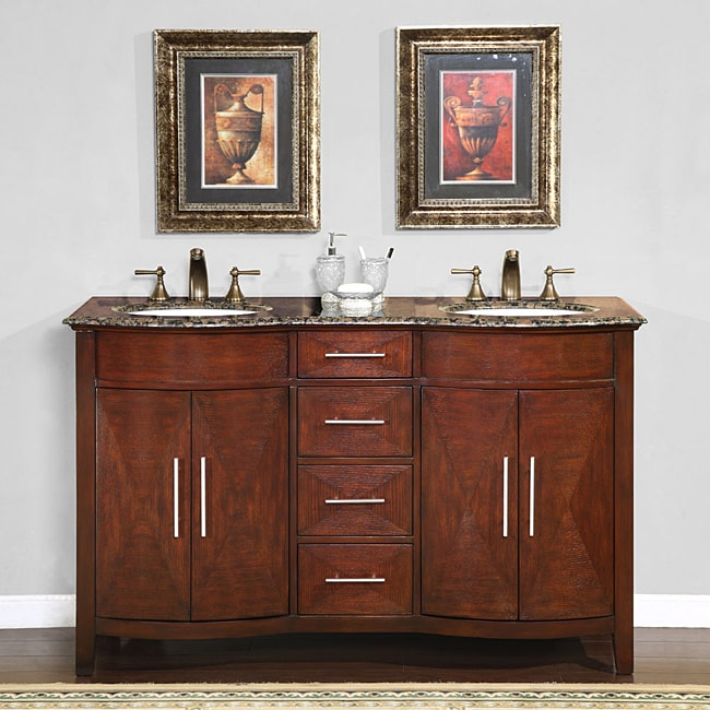shop silkroad exclusive double sink 58 inch granite top vanity cabinet free shipping today