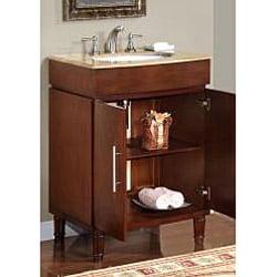 Silkroad Exclusive Single Sink 26-inch Travertine Top Vanity Cabinet