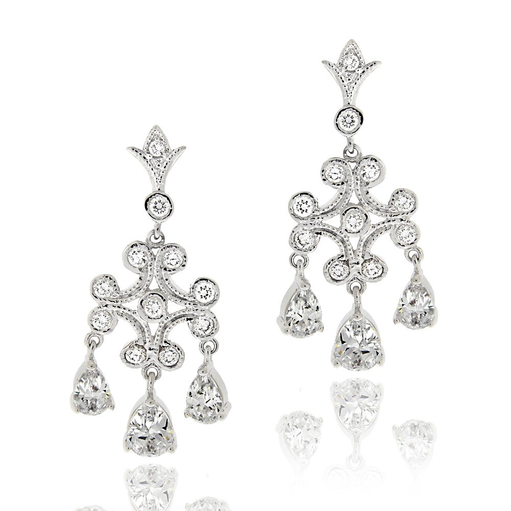 Icz stonez rhodiumplated cubic zirconia chandelier earrings free icz stonez rhodiumplated cubic zirconia chandelier earrings arubaitofo Images