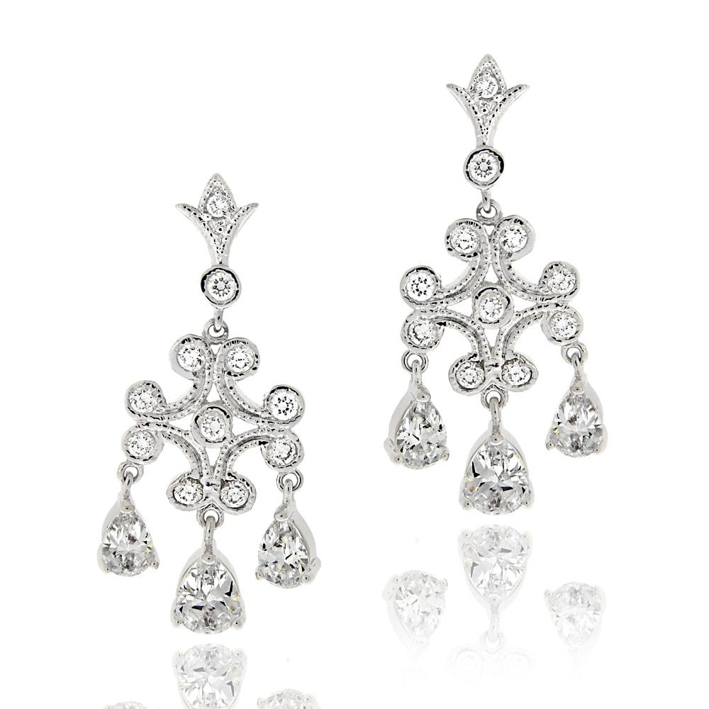 Icz Stonez Rhodiumplated Cubic Zirconia Chandelier Earrings