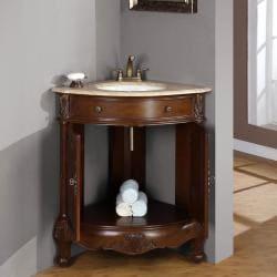 Silkroad Exclusive Single Sink 32 Inch Travertine Top