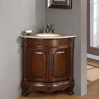 Silkroad Exclusive Single Sink 32-inch Travertine Top Corner Sink Vanity Cabinet