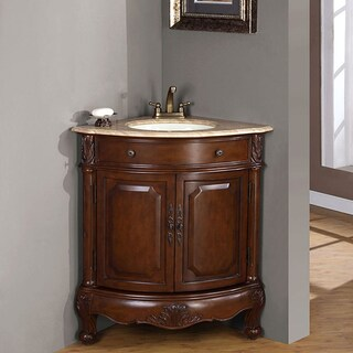 Silkroad Exclusive Single Sink 32-inch Travertine Top Corner Sink Vanity Cabinet