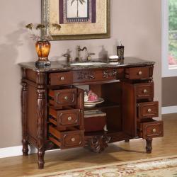 Silkroad Exclusive Single Sink 48-inch Granite Top Vanity Cabinet - Thumbnail 1