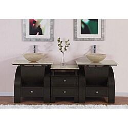 Silkroad Exclusive Double Sink 77-inch Travertine Top Vanity Cabinet