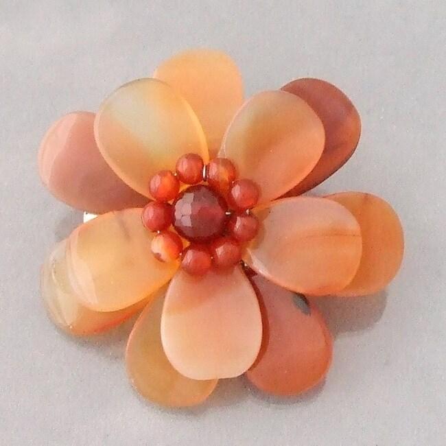 Carnelian Azalea Floral Brooch