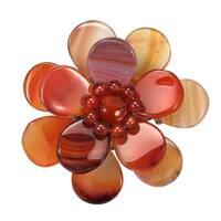 Handmade Carnelian Stone Azalea Floral Pin-Brooch (Thailand)