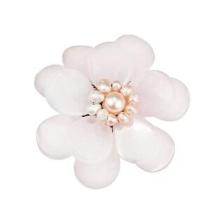 Handmade Rose Quartz and Natural Pink Pearl Azalea Floral Brooch (5-6 mm)(Thailand)