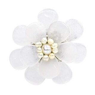 Handmade Clear Quartz Stone Azalea Beauty Floral Pin-Brooch (Thailand)