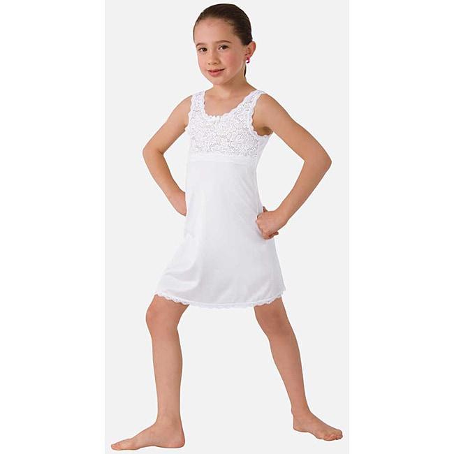 Illusion Girl's White Non-cling Slip Nightgown