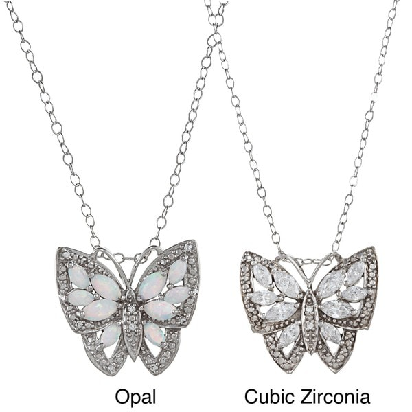 Gioelli Sterling Silver White CZ or Opal Antique-finished Butterfly Necklace