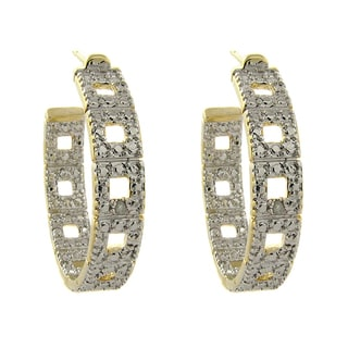 Finesque 14k Gold Overlay Diamond Accent Hoop Earrings