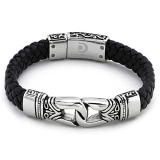 Stainless Steel Men's Black Leather Bracelet By Ever One|https://ak1.ostkcdn.com/images/products/6198597/P13847771.jpg?impolicy=medium