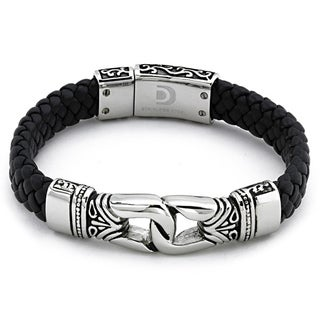 Stainless Steel Men's Black Leather Bracelet By Ever One
