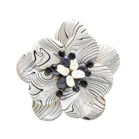 Handmade Zebra Stripe Natural Mother of Pearl and Pearl Floral Brooch (Thailand)