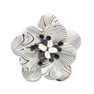 Handmade Zebra Stripe Natural Mother of Pearl and Pearl Floral Brooch (4-10 mm)(Thailand)