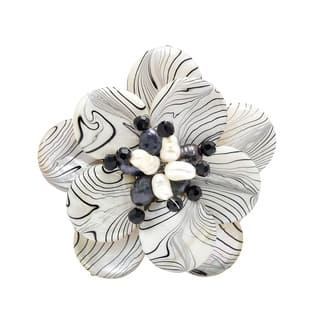 Handmade Zebra Stripe Natural Mother of Pearl and Pearl Floral Brooch (4-10 mm)(Thailand) https://ak1.ostkcdn.com/images/products/6198694/P13847830.jpg?impolicy=medium