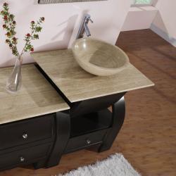 Silkroad Exclusive Travertine Top 49-inch Single Sink Vanity Cabinet