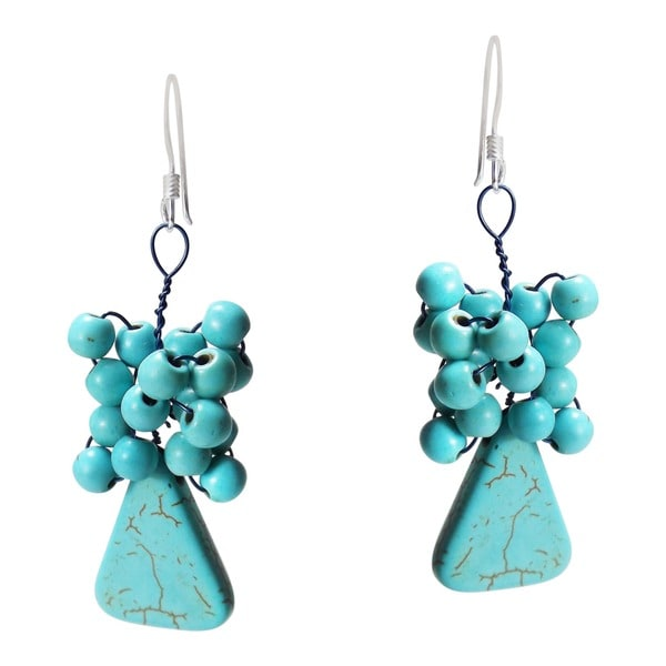 Reconstructed Turquoise Cluster Dangle Earrings