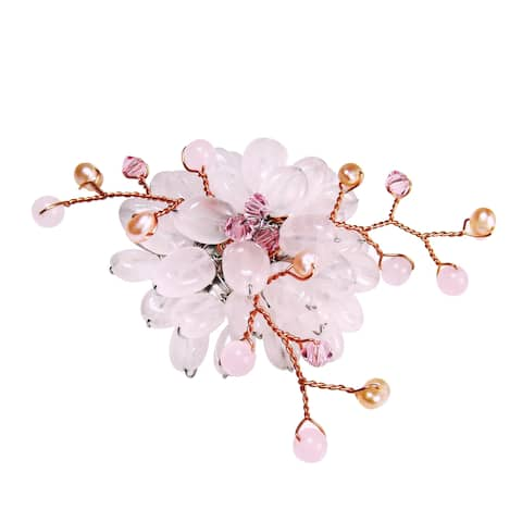 Handmade Pink Charming Lotus Flower Rose Quartz Stone Pin-Brooch (Thailand)