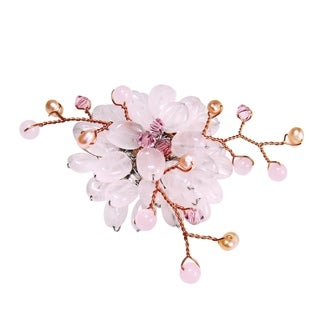 Handmade Rose Quartz and Natural Pearl Lotus Flower Brooch (3-5 mm)(Thailand)