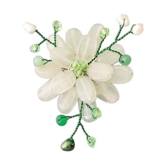 Handmade Quartz and Natural Pearl Lotus Flower Brooch (4-5 mm)(Thailand)