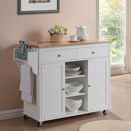 Meryland White Modern Kitchen Island Cart - Free Shipping Today