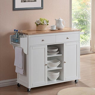 Havenside Home Nixonton White Modern Kitchen Island Cart