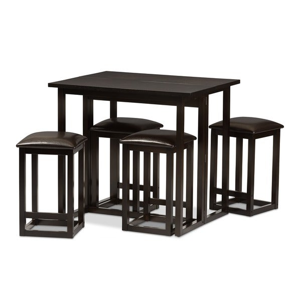 brown wood collapsible pub table set 8 chairs ashley bar and for sale
