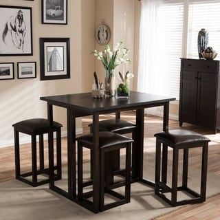 Baxton Studio Leeds Dark Brown Wood and Faux Leather Collapsible Pub Table Set