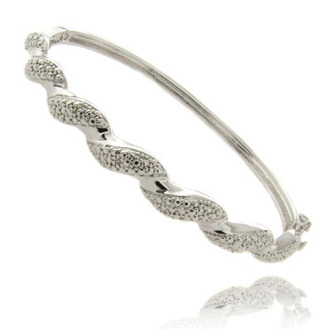 Finesque Silverplated Diamond Accent Twist Bangle Bracelet